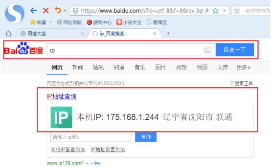 搜狗浏览器内设置代理IP-查看ip