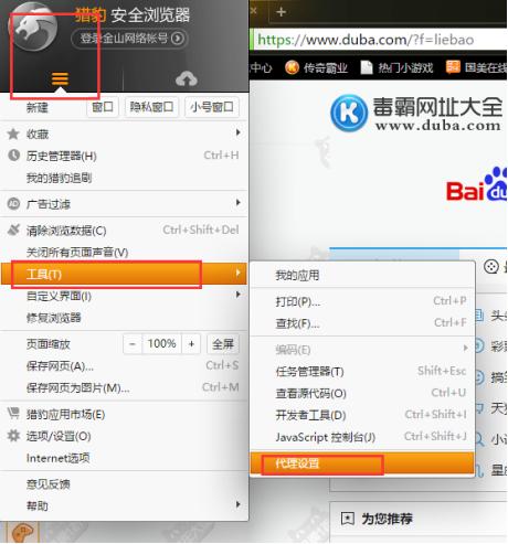 猎豹浏览器设置代理IP-代理设置